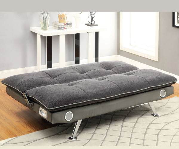 Gallagher Gray Studio Sofa Bed Futon With Built In Sound