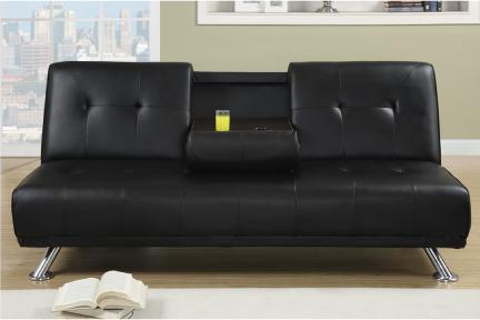 Josh Dark Brown Sofa Bed Futon With Cup Holder