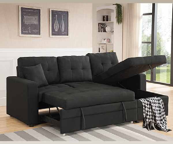 black linen like fabric pull out sofa bed sectional. Black Bedroom Furniture Sets. Home Design Ideas