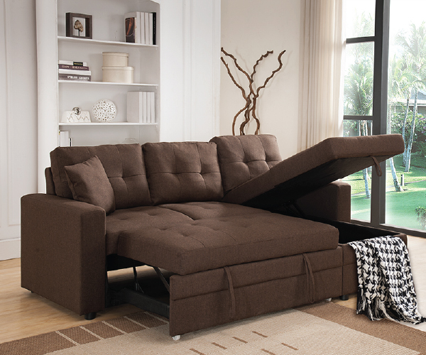 BROWN LINEN LIKE FABRIC PULL OUT SOFA BED SECTIONAL