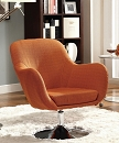 ORANGE RETRO LINEN SWIVEL ACCENT CHAIR