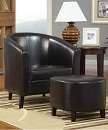 VINYL CLUB ACCENT CHAIR WITH OTTOMAN