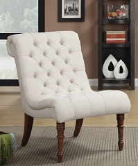 OATMEAL LINEN LIKE TUFTED ACCENT CHAIR