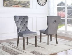 DIVANTE GREY VELVET TUFTED DINING CHAIR