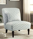 CHEVRON GREY AND WHITE ACCENT CHAIR