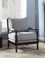 ASIANA GREY LINEN LIKE FABRIC ACCENT ARM CHAIR