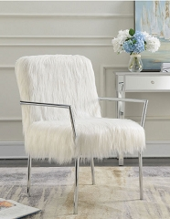 FAUX SHEEP FUR FULLY UPHOLSTERED ACCENT CHAIR
