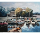 YACHT ANCHORAGE HAND PAINTED OIL PAINTING