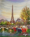 PARIS HARBOR HAND PAINTED OIL PAINTING