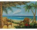 PARADISE COTTAGE HAND PAINTED OIL PAINTING