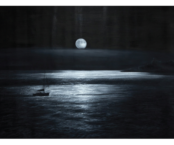 Midnight Moon Lake Hand Painted Oil Painting