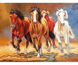 RUN AWAY HORSES HAND PAINTED OIL PAINTING