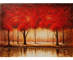 AUTUMN WOODS HAND PAINTED OIL PAINTING