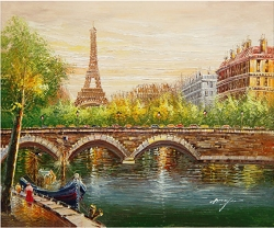 PARIS HARBOR BRIDGE HAND PAINTED OIL PAINTING