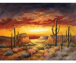 DESERT SUNSET HAND PAINTED OIL PAINTING
