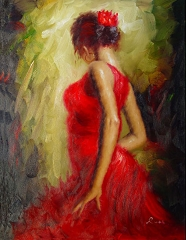 SALSA DANCING LADY HAND PAINTED OIL PAINTING