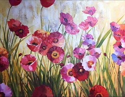 WILD POPPIES II HAND PAINTED OIL PAINTING