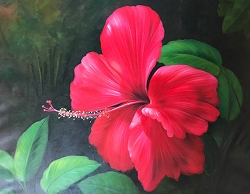 HIBISCUS HAND PAINTED OIL PAINTING