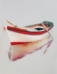 LONE BOAT HAND PAINTED OIL PAINTING