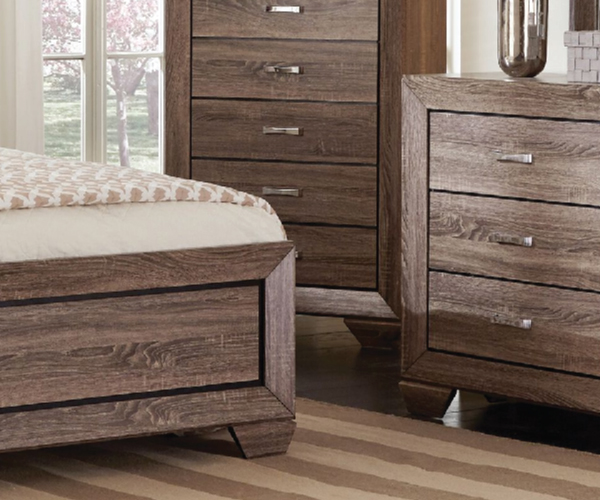 Kauffman rustic grayish brown 4 pieces bedroom suite for Rustic bedroom furniture suites