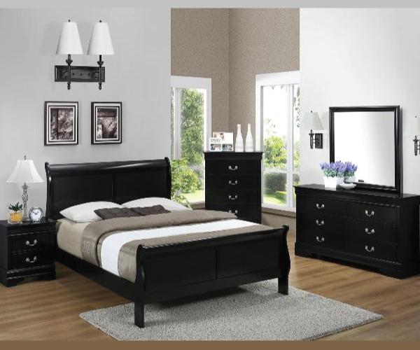 Black louis phillips 4 pieces bedroom suite for Black bedroom suite