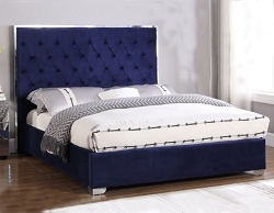 BELGIAN TUFTED VELOUR ROYAL BLUE UPHOLSTERED BED