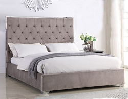 BELGIAN TUFTED VELOUR LIGHT GREY UPHOLSTERED BED