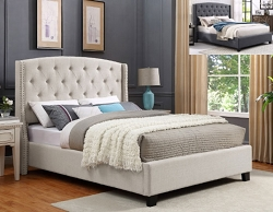EVA IVORY WING BACK TUFTED UPHOLSTERY BED