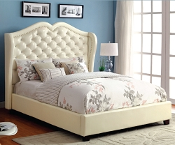 MONROE IVORY ACRYLIC BUTTON TUFTED VINYL PLATFORM BED