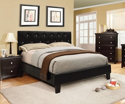 VELEN BLACK VINYL RHINESTONE TUFTED UPHOLSTERED BED