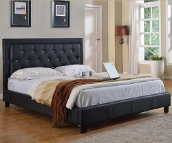 LA QUEEN SPARKLE BLACK LOW PROFILE LEATHERETTE BED