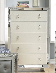 UPTOWN GLAMOUR SILVER MIRROR 5 DRAWERS CHEST