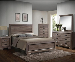 FARROW RUSTIC GRAYISH BROWN 4 PIECES BEDROOM SUITE