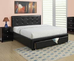 EBSY BLACK LEATHERETTE UPHOLSTER BED WITH FOOT BOARD STORAGE