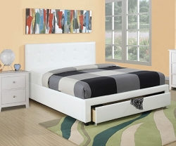 EBSY WHITE LEATHERETTE UPHOLSTER BED WITH FOOT BOARD STORAGE