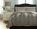 VOLTOS BROWN PLEATED COTTON DUVET COVER SET