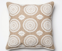 BROOKE WORKS WOOL AND COTTON EMBROIDERED ACCENT PILLOW