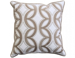 LATI EMBROIDERED COTTON FEATHER FILL ACCENT PILLOW