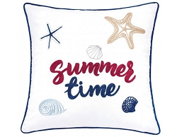 EMMIE SUMMER TIME EMBROIDERED COTTON FEATHER FILL ACCENT PILLOW