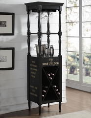 ANTHONY ANTIQUE BLACK WINE CABINET TOWER