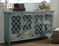 MIRIMYN ANTIQUE TEAL 68 INCHES ACCENT CABINET