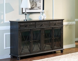CADIZ 4 DOOR CREDENZA SERVER WITH DRAWERS AND GLASS DOOR