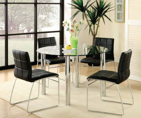 Solar Round Chrome And Glass Dining Table With 4 Renzo: KONA I ROUND GLASS TOP DINING SET WITH BLACK PU CHAIRS