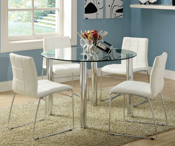 Solar Round Chrome And Glass Dining Table With 4 Renzo: KONA I ROUND GLASS TOP DINING SET WITH WHITE PU CHAIRS