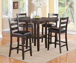 TAHOE DARK WALNUT 5 PIECE COUNTER HEIGHT DINING SET