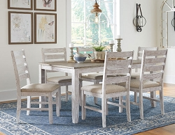 SKEMPTON COASTAL WHITE AND LIGHT BROWN DINING SET