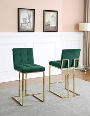 EMERALD GREEN VELVET SEAT 30 INCHES BAR STOOL