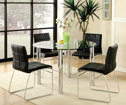 KONA I ROUND GLASS TOP DINING SET WITH BLACK PU CHAIRS