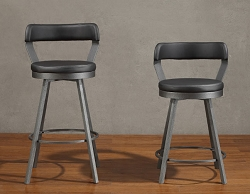 APPERT BLACK MODERN INDUSTRIAL SWIVEL BAR STOOL