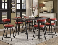 APPERT RED MODERN INDUSTRIAL DINING BAR TABLE COLLECTION